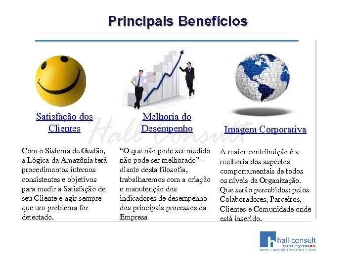 Principais Benefícios Satisfação dos Clientes Melhoria do Desempenho Imagem Corporativa Com o Sistema de