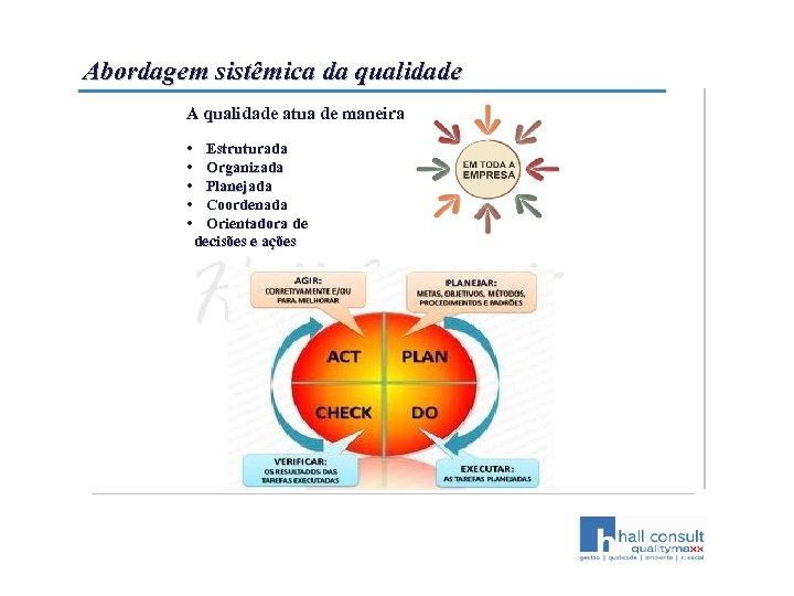 Abordagem sistêmica da qualidade A qualidade atua de maneira • Estruturada • Organizada •