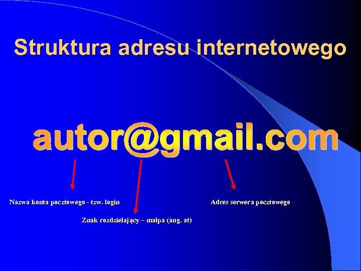 Struktura adresu internetowego Nazwa konta pocztowego - tzw. login Znak rozdzielający – małpa (ang.