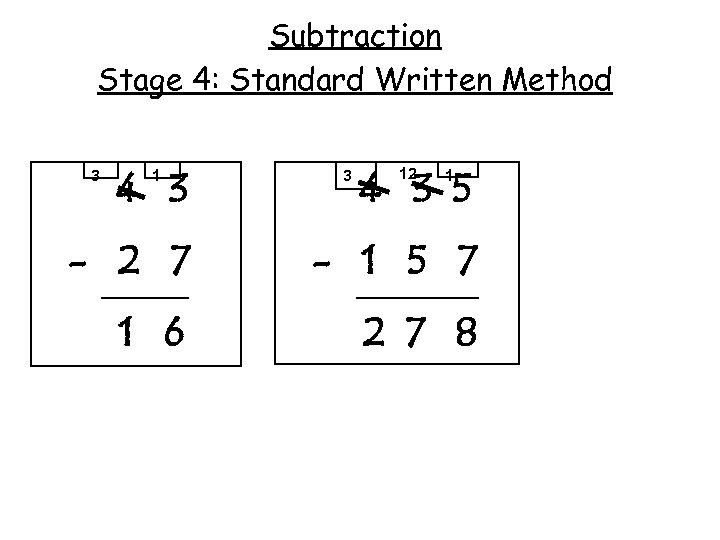 Subtraction Stage 4: Standard Written Method 3 4 3 1 3 4 3 5