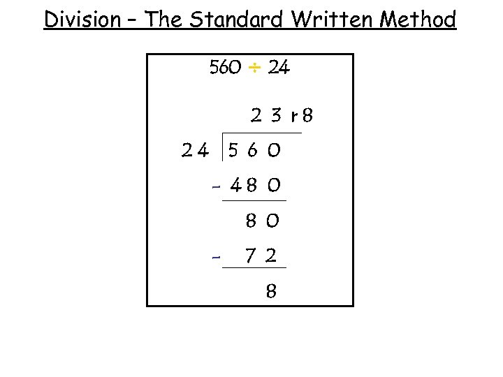 Division – The Standard Written Method 560 ÷ 24 2 3 r 8 24