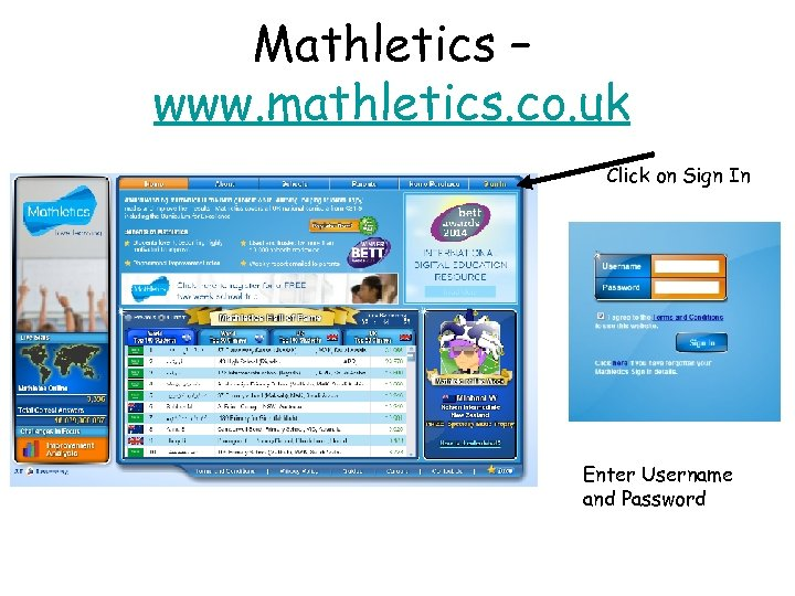 Mathletics – www. mathletics. co. uk Click on Sign In Enter Username and Password