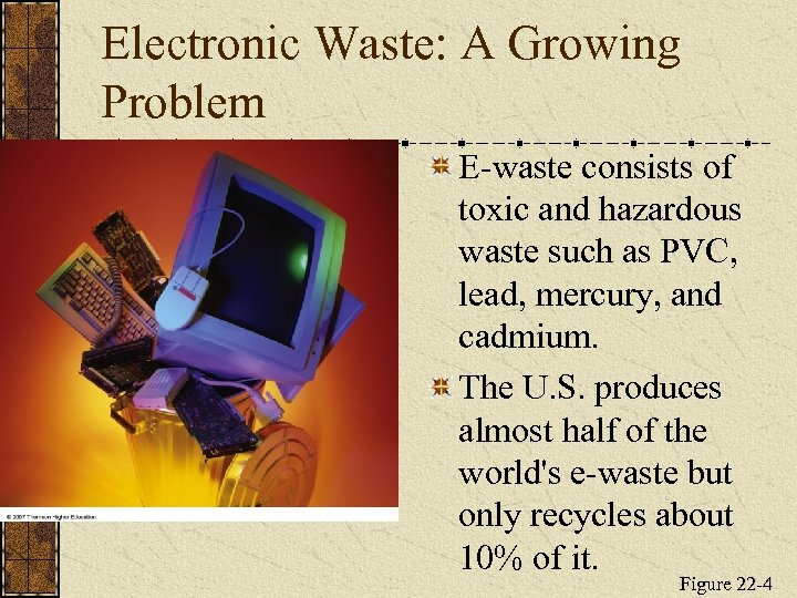 Electronic Waste: A Growing Problem E-waste consists of toxic and hazardous waste such as