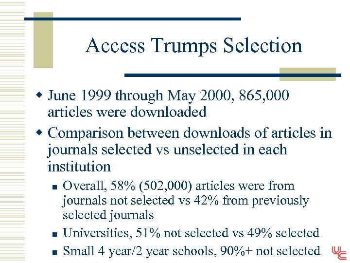 Access Trumps Selection w June 1999 through May 2000, 865, 000 articles were downloaded