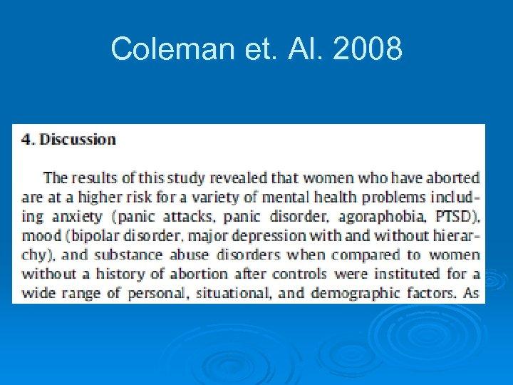 Coleman et. Al. 2008