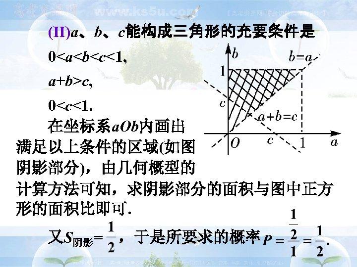 (Ⅱ)a、b、c能构成三角形的充要条件是 0<a<b<c<1, a+b>c, 0<c<1.   在坐标系a. Ob内画出 满足以上条件的区域(如图 阴影部分),由几何概型的 计算方法可知,求阴影部分的面积与图中正方 形的面积比即可.   又S阴影= ,于是所要求的概率