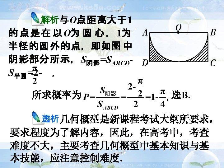与O点距离大于1 的 点 是 在 以 O为 圆 心 , 1为 半径的圆 外的点,即如图 中