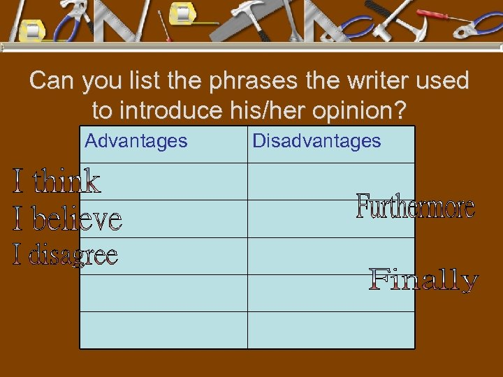 Can you list the phrases the writer used to introduce his/her opinion? Advantages Disadvantages