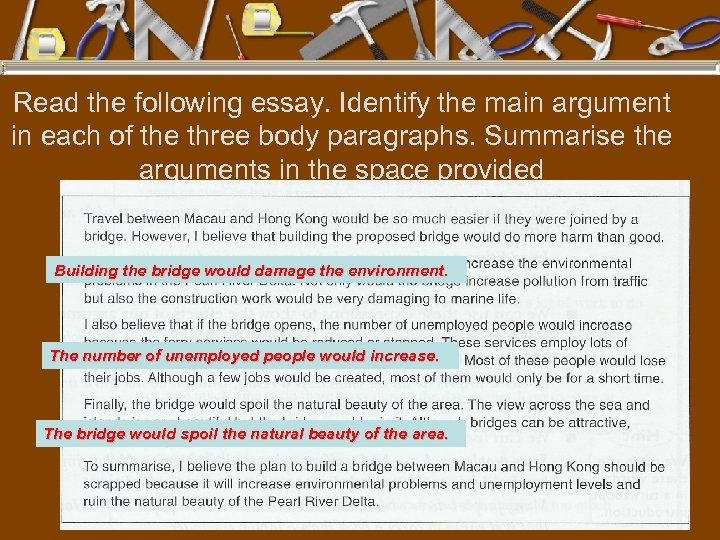 Read the following essay. Identify the main argument in each of the three body