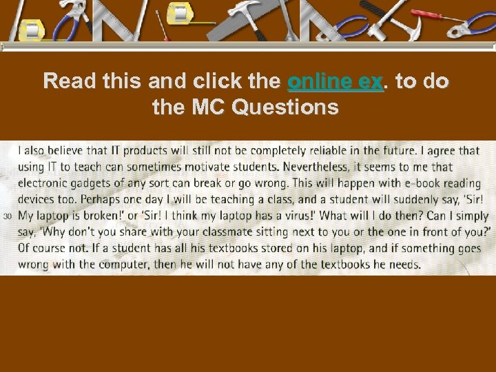 Read this and click the online ex. to do the MC Questions