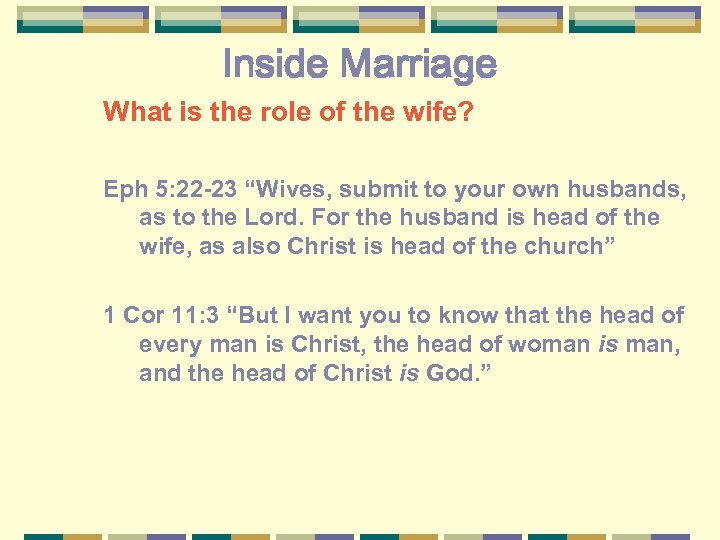 """Inside Marriage What is the role of the wife? Eph 5: 22 -23 """"Wives,"""