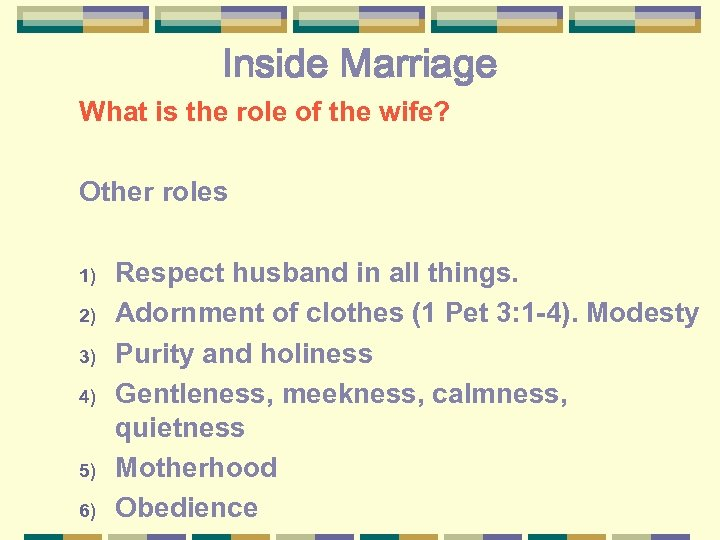 Inside Marriage What is the role of the wife? Other roles 1) 2) 3)