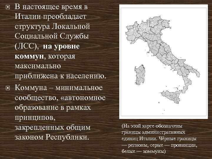 В настоящее время в Италии преобладает структура Локальной Социальной Службы (ЛСС), на уровне