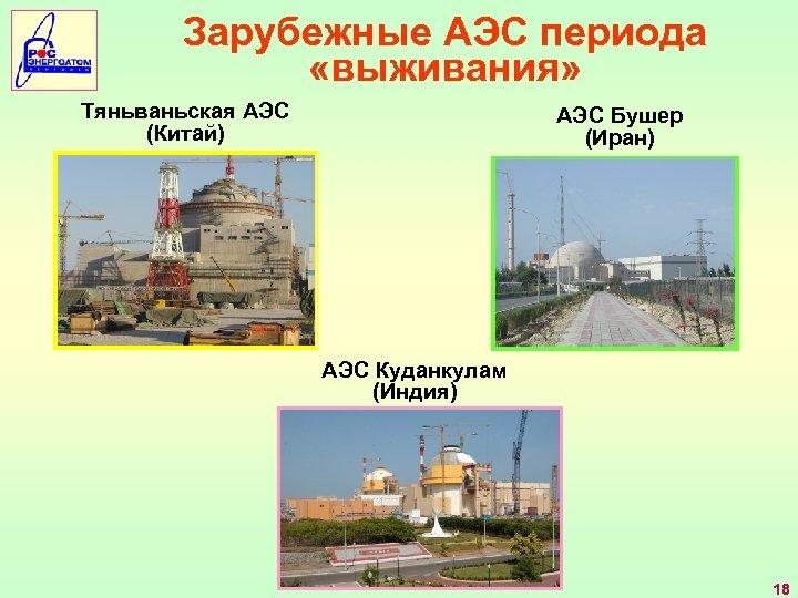 Зарубежные АЭС периода «выживания» Тяньваньская АЭС (Китай) АЭС Бушер (Иран) АЭС Куданкулам (Индия) 18