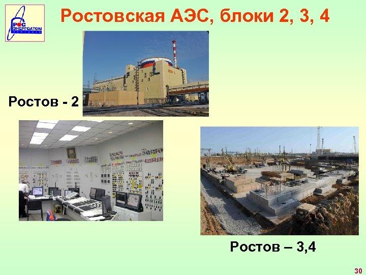 Ростовская АЭС, блоки 2, 3, 4 Ростов - 2 Ростов – 3, 4 30