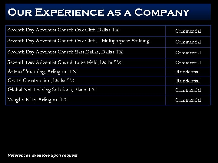 Our Experience as a Company Seventh Day Adventist Church Oak Cliff, Dallas TX Commercial