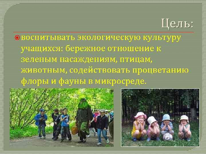 Цель: воспитывать экологическую культуру учащихся: бережное отношение к зеленым насаждениям, птицам, животным, содействовать процветанию