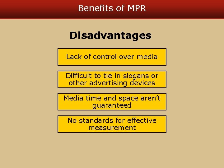 Benefits of MPR Disadvantages Lack of control over media Difficult to tie in slogans