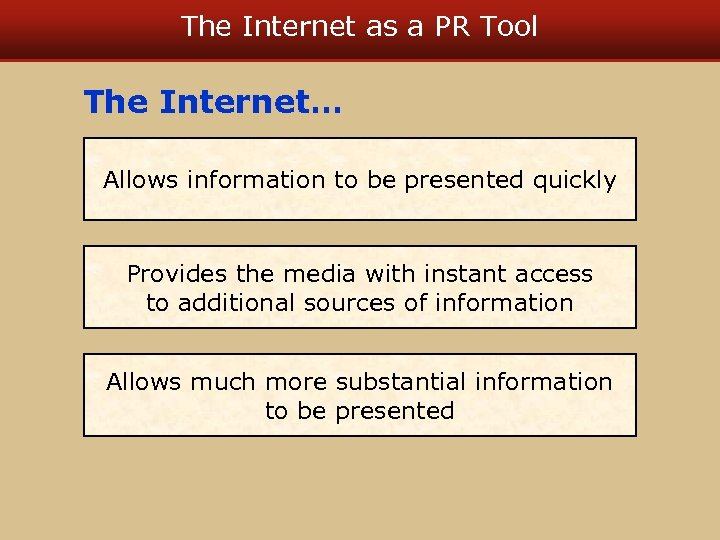 The Internet as a PR Tool The Internet… Allows information to be presented quickly