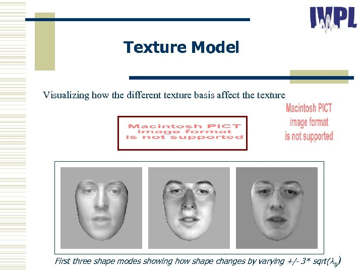 Texture Model Visualizing how the different texture basis affect the texture: First three shape
