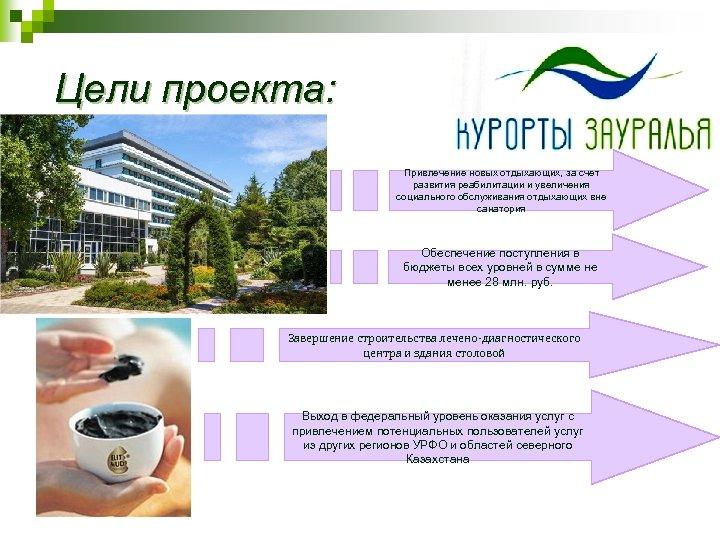 Цели проекта: Привлечение новых отдыхающих, за счет развития реабилитации и увеличения социального обслуживания отдыхающих