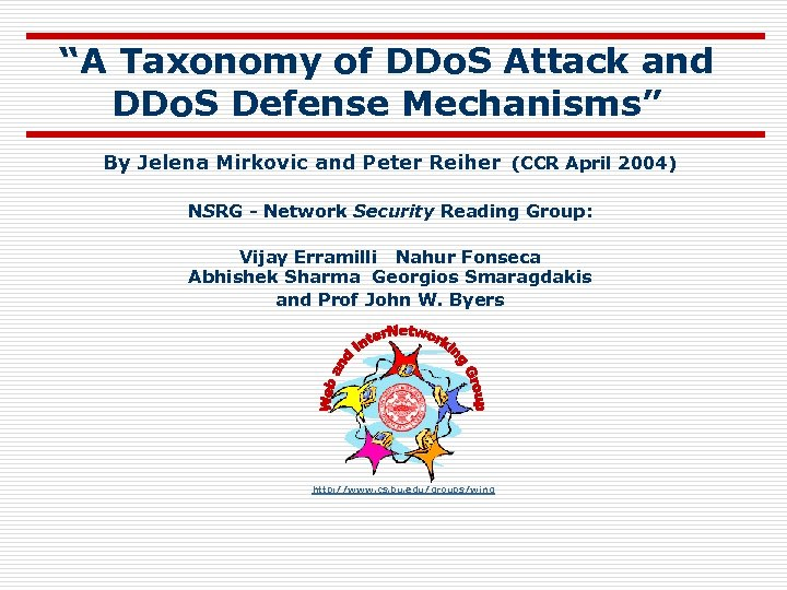 """""""A Taxonomy of DDo. S Attack and DDo. S Defense Mechanisms"""" By Jelena Mirkovic"""