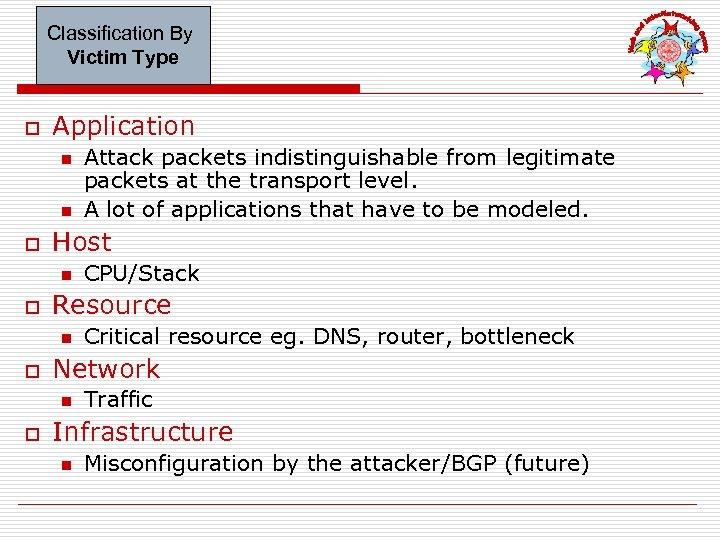 Classification By Victim Type o Application n n o Host n o Critical resource