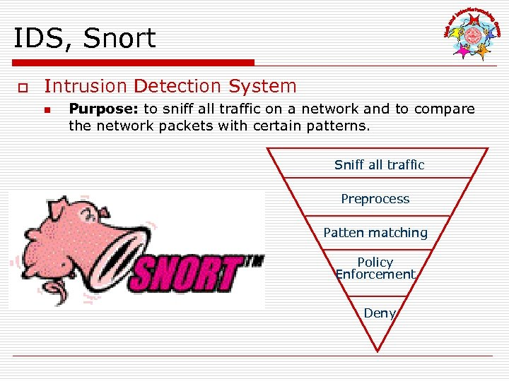 IDS, Snort o Intrusion Detection System n Purpose: to sniff all traffic on a
