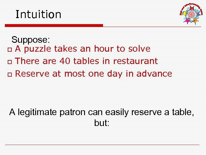 Intuition Suppose: o o o A puzzle takes an hour to solve There are