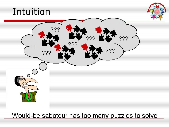 Intuition ? ? ? ? ? Would-be saboteur has too many puzzles to solve