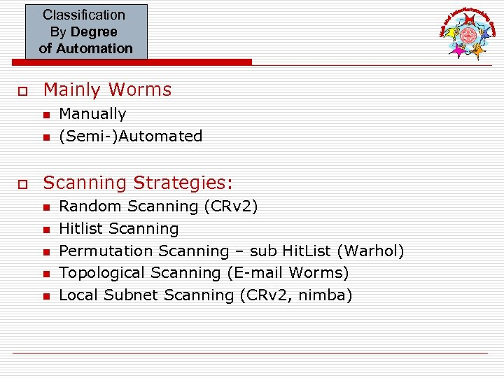 Classification By Degree of Automation o Mainly Worms n n o Manually (Semi-)Automated Scanning