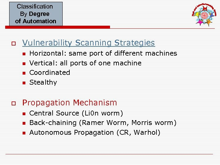 Classification By Degree of Automation o Vulnerability Scanning Strategies n n o Horizontal: same
