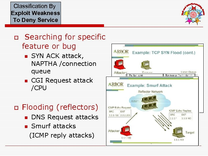 Classification By Exploit Weakness To Deny Service o Searching for specific feature or bug