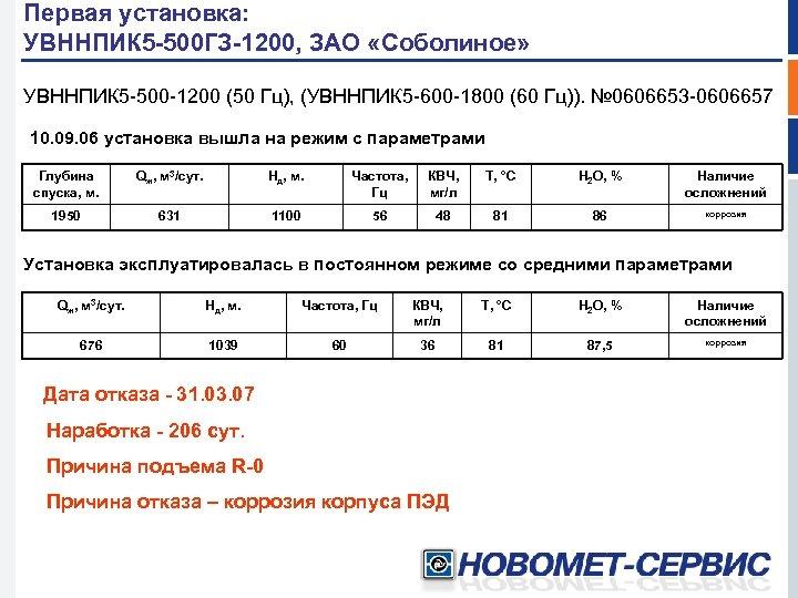 Первая установка: УВННПИК 5 -500 ГЗ-1200, ЗАО «Соболиное» УВННПИК 5 -500 -1200 (50 Гц),
