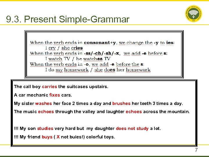 9. 3. Present Simple-Grammar The call boy carries the suitcases upstairs. A car mechanic