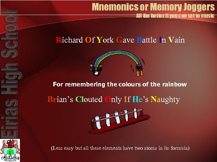 Mnemonics or Memory Joggers All the better if you can set to music Richard