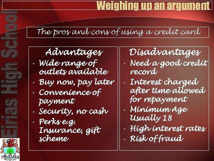 Weighing up an argument The pros and cons of using a credit card Advantages