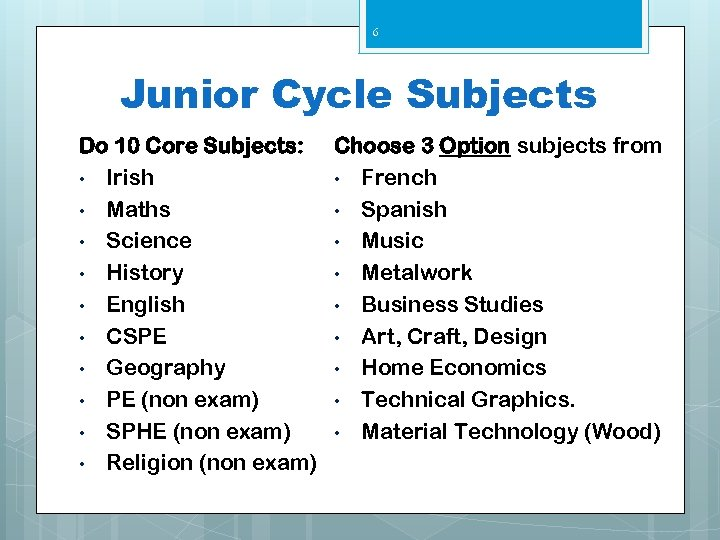 6 Junior Cycle Subjects Do 10 Core Subjects: Choose 3 Option subjects from •