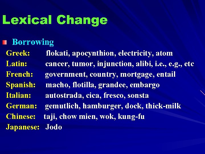 Lexical Change Borrowing Greek: Latin: French: Spanish: Italian: German: Chinese: Japanese: flokati, apocynthion, electricity,