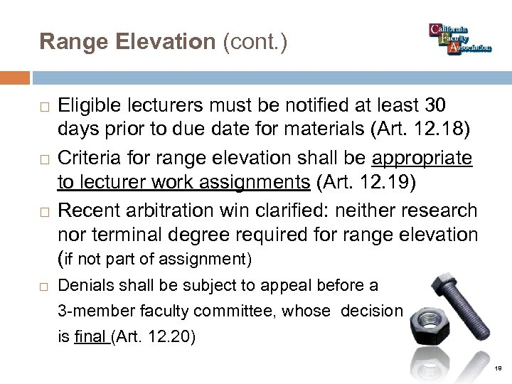 Range Elevation (cont. ) Eligible lecturers must be notified at least 30 days prior