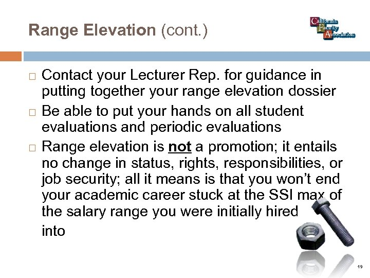 Range Elevation (cont. ) Contact your Lecturer Rep. for guidance in putting together your