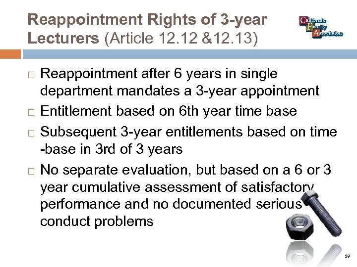 Reappointment Rights of 3 -year Lecturers (Article 12. 12 &12. 13) Reappointment after 6