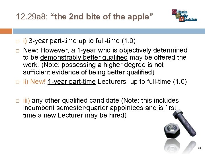 """12. 29 a 8: """"the 2 nd bite of the apple"""" i) 3 -year"""