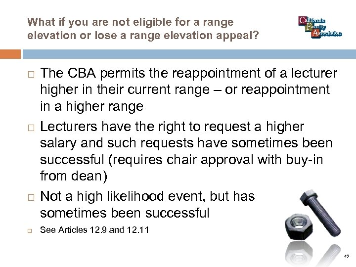 What if you are not eligible for a range elevation or lose a range