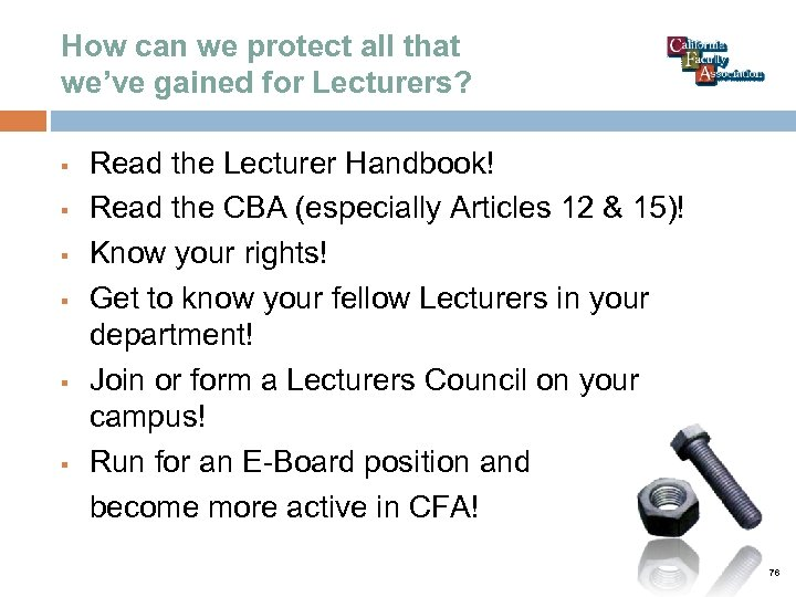 How can we protect all that we've gained for Lecturers? § § § Read