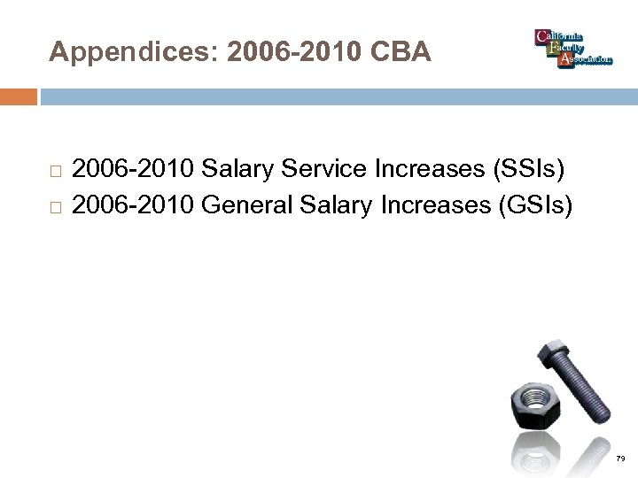 Appendices: 2006 -2010 CBA 2006 -2010 Salary Service Increases (SSIs) 2006 -2010 General Salary