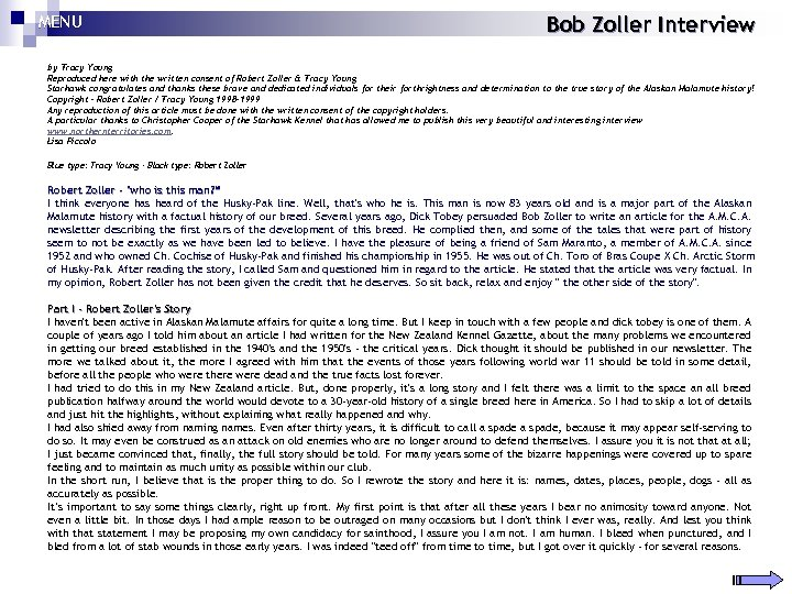 MENU Bob Zoller Interview by Tracy Young Reproduced here with the written consent of
