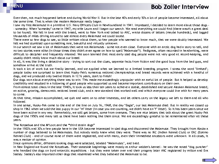 MENU Bob Zoller Interview Even then, not much happened before and during World War