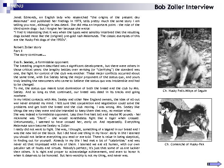 """MENU Bob Zoller Interview Janet Edmonds, an English lady who researched """"the origins of"""
