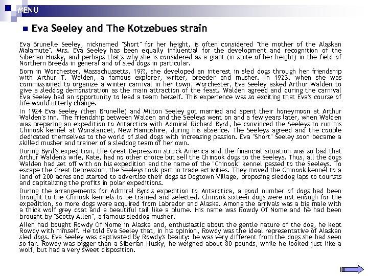 MENU n Eva Seeley and The Kotzebues strain Eva Brunelle Seeley, nicknamed
